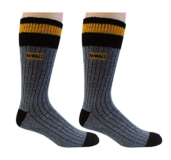 DeWALT Mens 2 Pack Wool Blend Boot Crew Socks (Black & Yellow),10