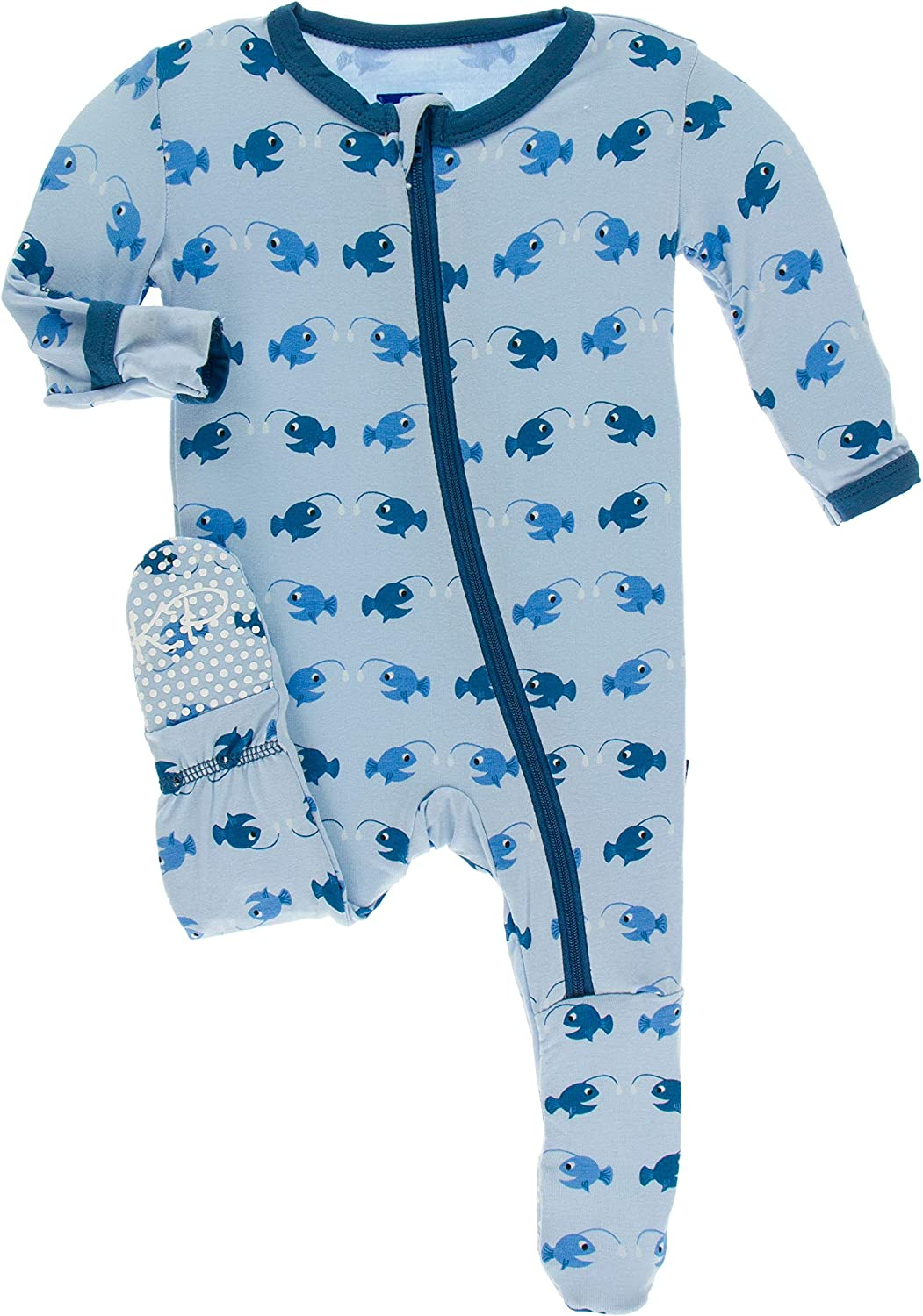 3-6 Months, Essentials Pond Elephant KicKee Pants Print Footie with Snaps