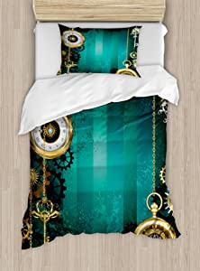 Ambesonne Industrial Duvet Cover Set, Antique Items Watches Keys and Chains with Steampunk Influences Illustration, Decorative 2 Piece Bedding Set with 1 Pillow Sham, Twin Size, Green Gold