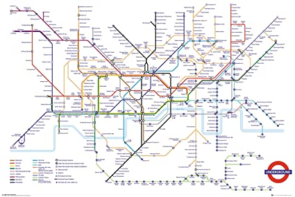 Transport For London Map.Gb Eye Ltd Transport For London Underground Map Maxi Poster 61x91 5cm Wood Various 65 X 3 5 X 3 5 Cm