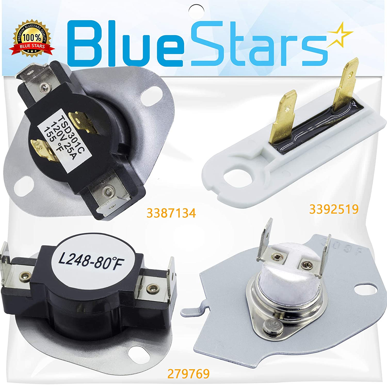 279769 Dryer Thermal Cut-Off Kit, 3387134 Dryer Thermostat and 3392519 Dryer Thermal Fuse by Blue Stars - Exact Fit for Whirlpool Kenmore Maytag Dryer - Replaces 3977394 3390291 PS345113 AP6008325