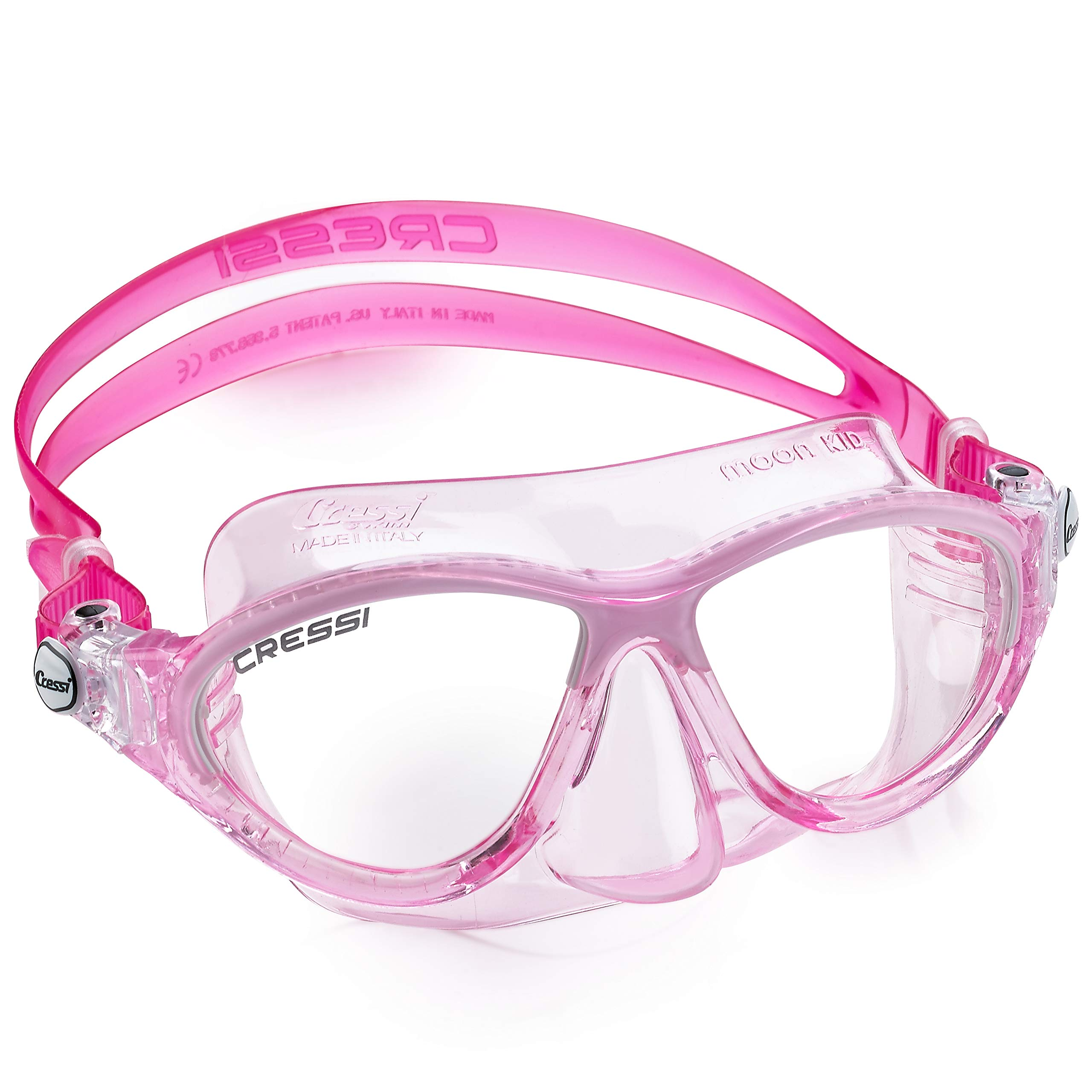 Cressi Moon Kids Swim Goggles, No Leaking Anti Fog UV Protection Dive Mask - Kids Ages 3-4-5-6-7 for Swimming and Diving - Made in Italy (Pink White)
