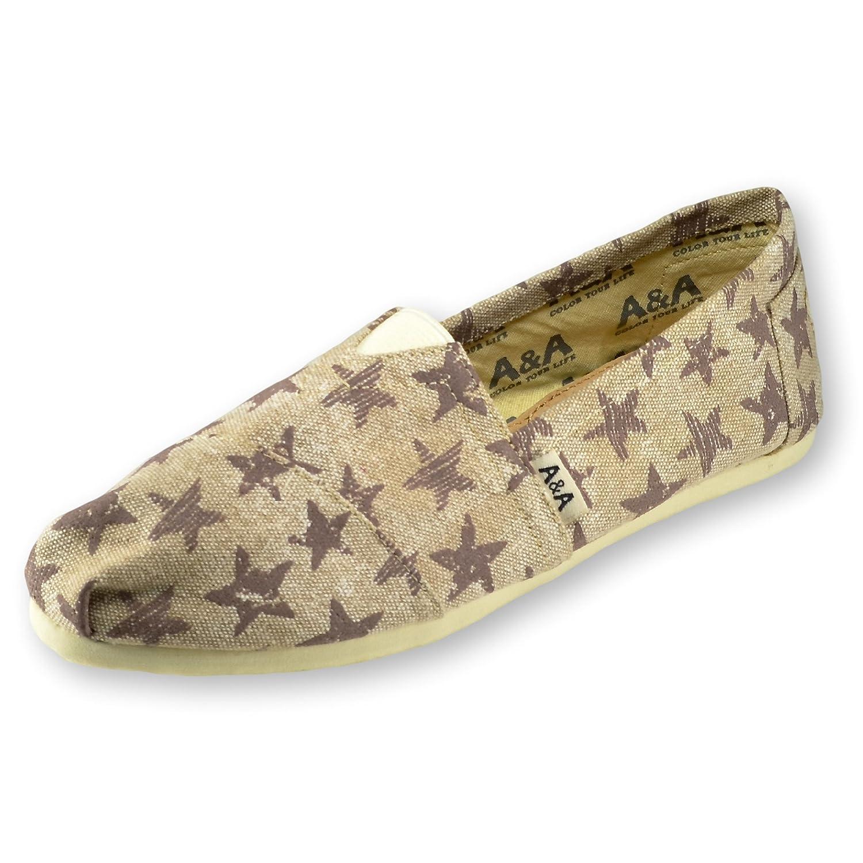 A&A Women Brown-Beige Slip-on Casual Flats Canvas Shoes Alpargatas (Vintage Stars)