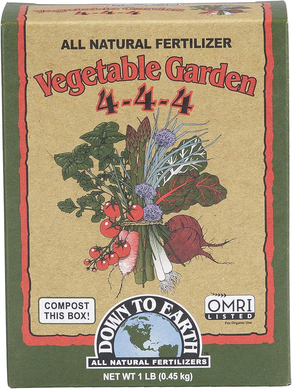 Down to Earth Organic Vegetable Garden Fertilizer 4-4-4, 1lb