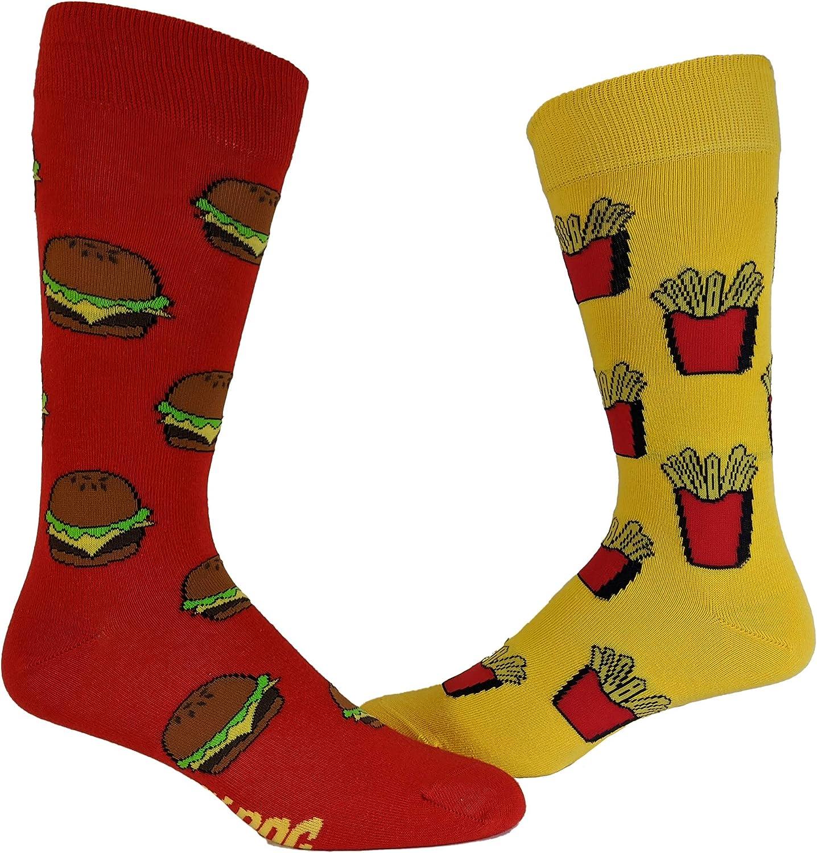 Burger And Fries Socks Funny Junk Food Backyard Cookout Vintage Novelty Footwear