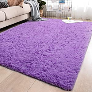 YJ.GWL Soft Purple Shaggy Area Rugs for Girls Room Bedroom Non-Slip Kids Carpet Baby Nursery Decor Fluffy Modern Rug 5.3 x 7.6 Feet