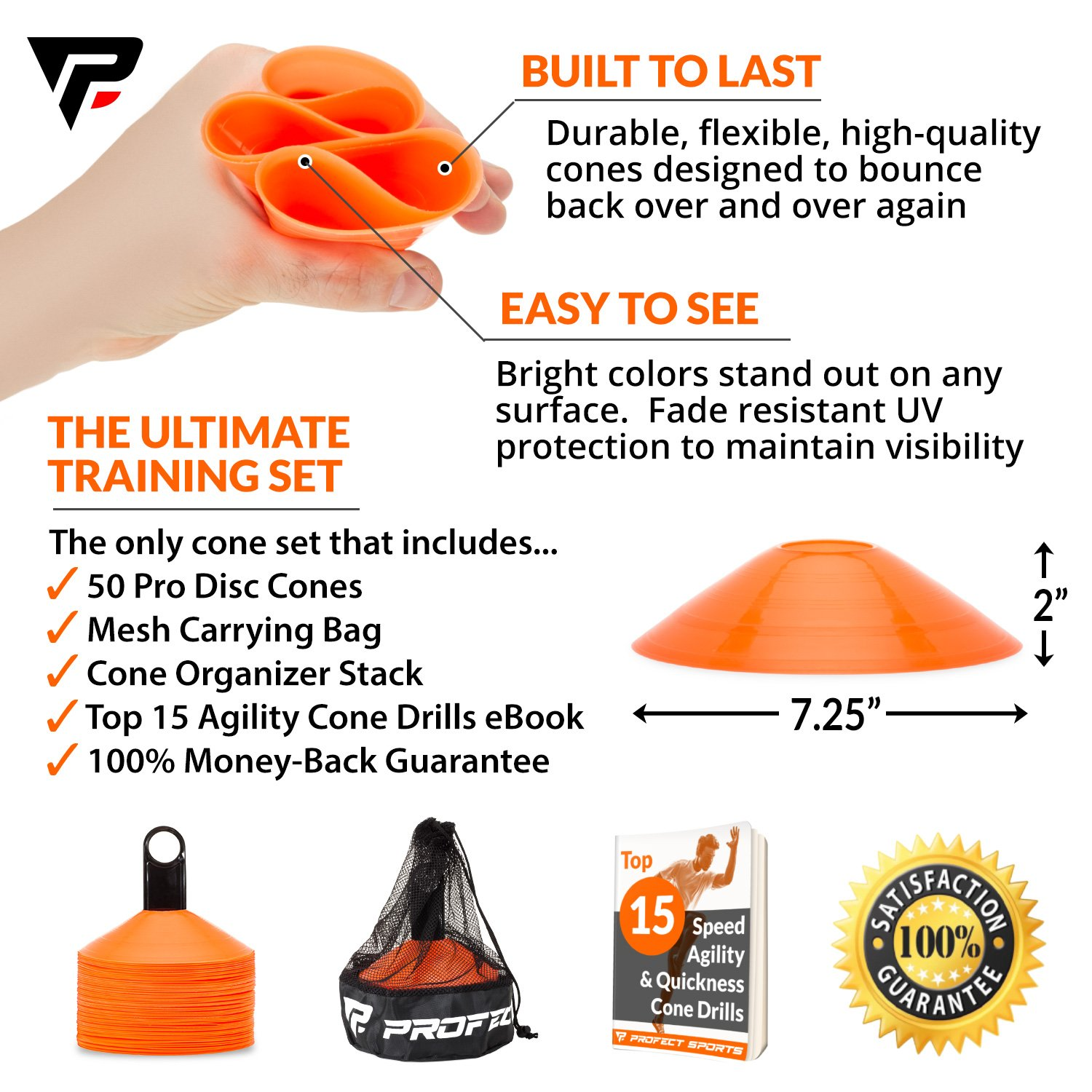 Pro Disc Cones (Set of 50) - Agility Soccer Cones with Carry Bag and Holder for Training, Football, Kids, Sports, Field Cone Markers - Includes Top 15 Drills eBook (Bright Orange) by Profect Sports (Image #2)