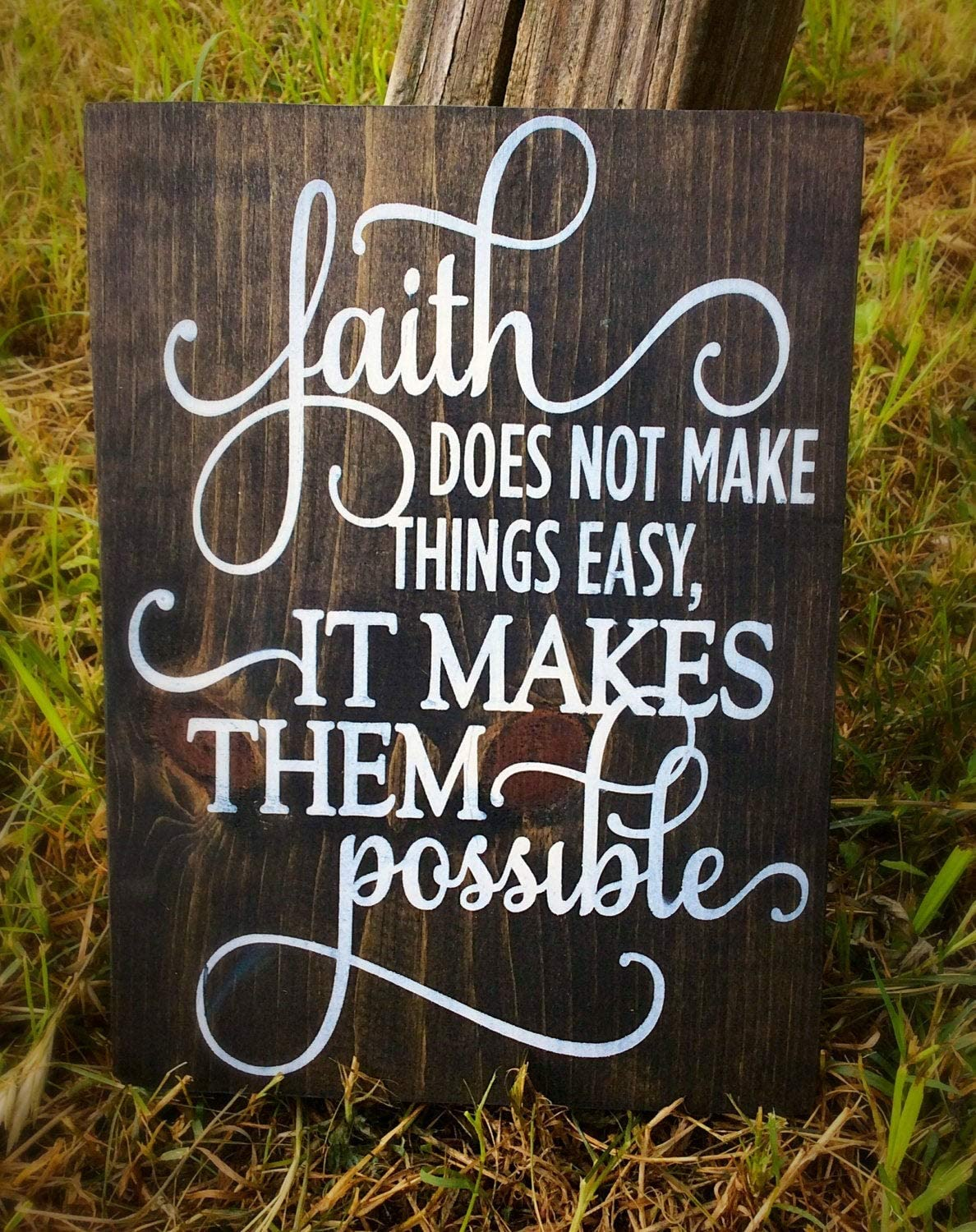 Wall Art Faith Does Not Make Things Easy It Makes Them Possible Inspirational Wood Sign, Scripture Art, Christian Decor, Bible Verse, Bible Quote Wood Plaque, Custom Gift