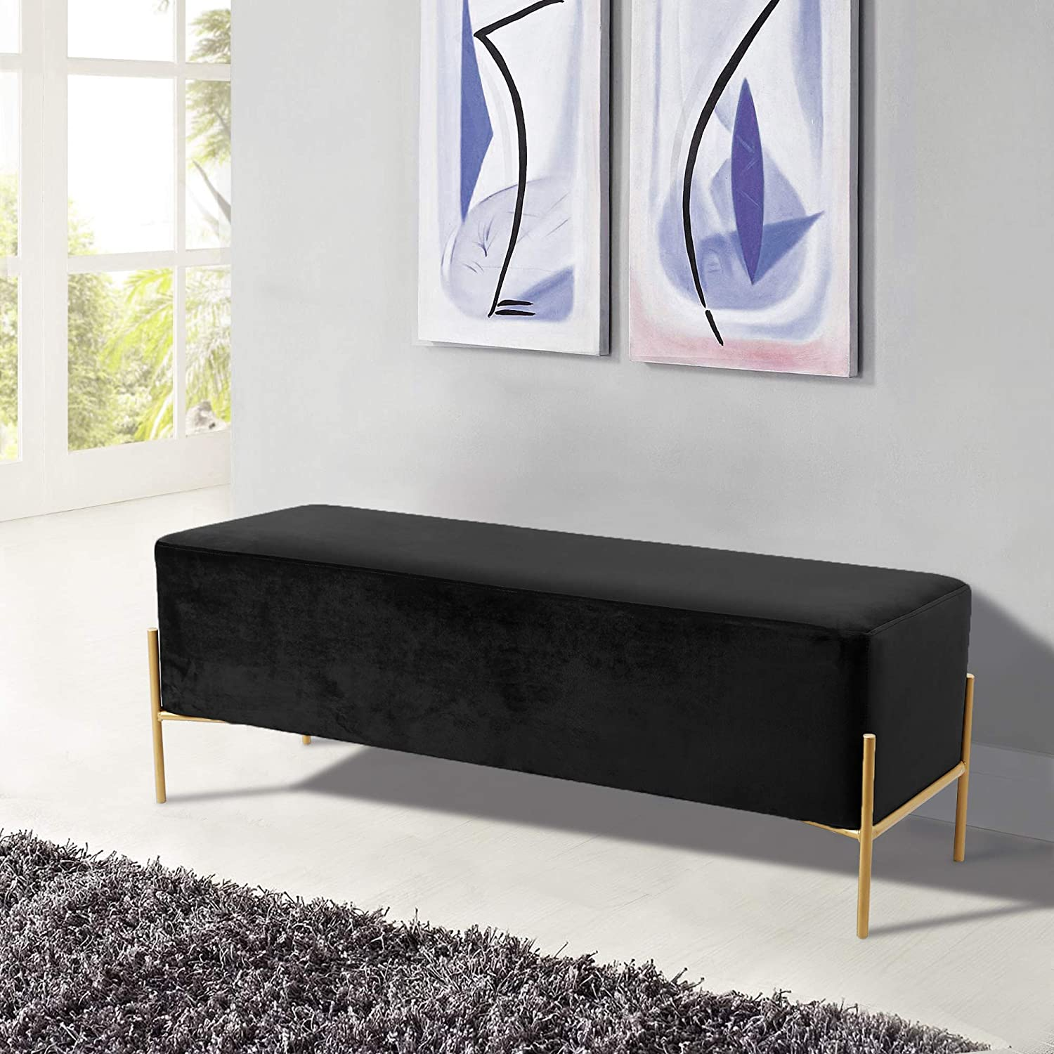 Contemporary Velvet Upholstered Bench with Stainless Steel Legs in a Rich Gold Finish 48 W x 16 D x 17 H Meridian Furniture 143Cream Isla Collection Modern Cream