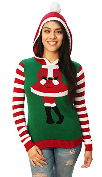 Ugly Christmas Sweater Women\u0027s Cute Santa Girl Hooded