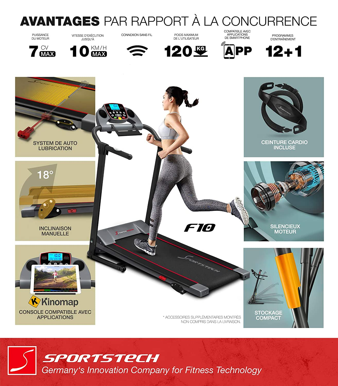 ae4d589b52a41 ... autolubrification, Bluetooth, avec 13 programmes d'entraînement,  Compact et Pliable + Ceinture cardiofréquencemètre: Amazon.fr: Sports et  Loisirs
