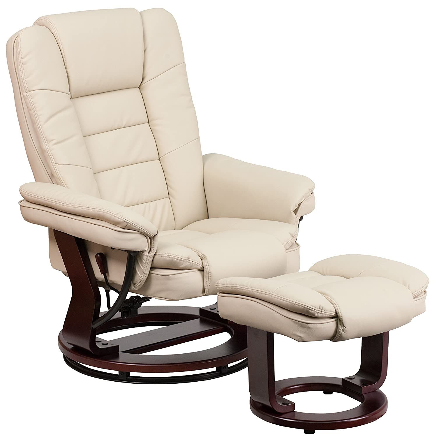 Flash Furniture BT 7818 BGE GG Contemporary Beige Leather Recliner And  Ottoman With Swiveling Mahogany Wood Base