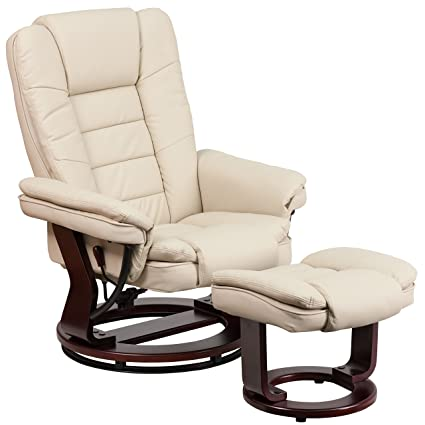 . Flash Furniture Contemporary Beige Leather Recliner and Ottoman with  Swiveling Mahogany Wood Base