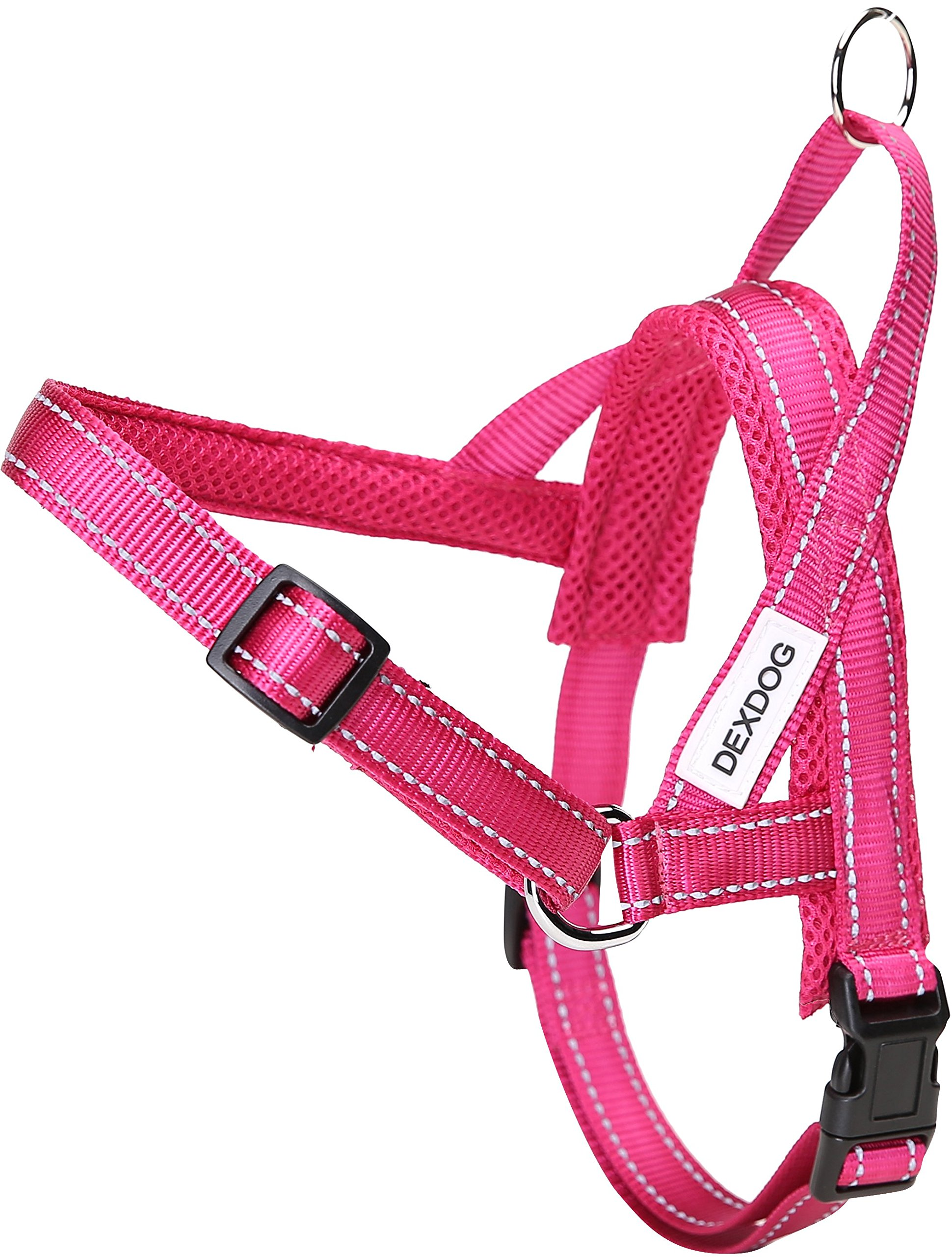 DEXDOG #1 Best Dog Harness — EZHarness On/Off Walk in Seconds! [Pink X-Small XS X-S] — Easy Quicker Step in Dog Harness Vest — Puppy No Pull Reflective Mesh Handle Adjustable Training
