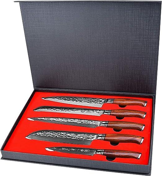 Amazon.com: Yarenh - Juego de 5 cuchillos de chef con hoja ...