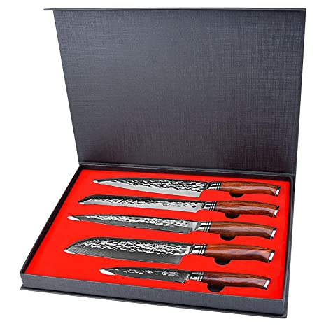 Yarenh Chef Knife Set Professional 5 Pcs,High Carbon Japanese Damascus Steel Blade,Dalbergia Wood Handle,Gift Box Packaging, Sharp Kitchen Knife Set ...