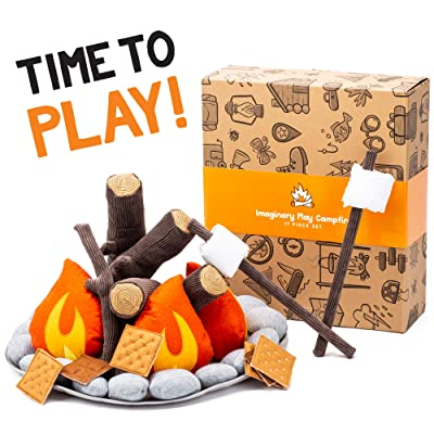 HUNIIHOME Pretend Campfire for Kids - Sensory Play Camping Toy Set with Plush Felt Fake Fire, Logs and Stones with Fake Food Marshmallow and S'Mores - 17 Piece Set: Toys & Games