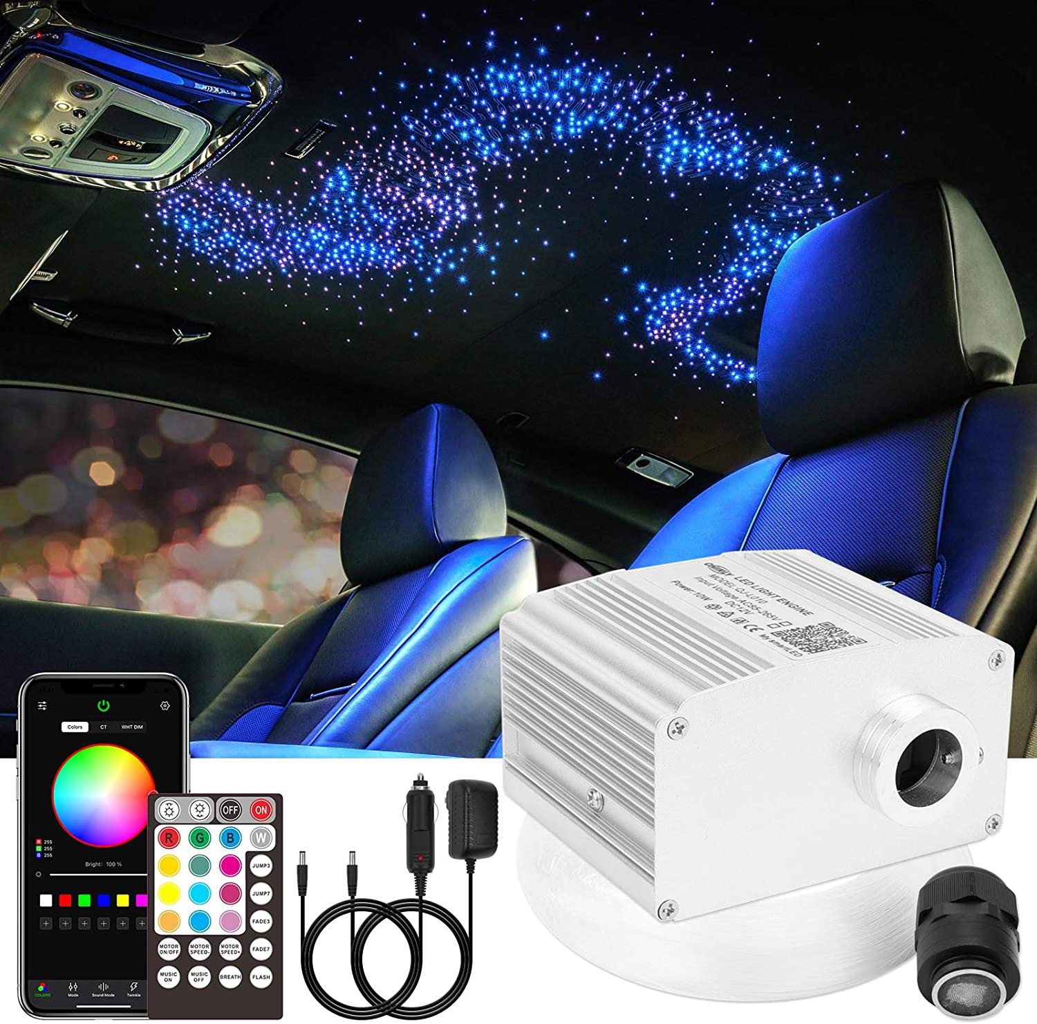 CHINLY 10W Twinkle Bluetooth APP/Remote RGBW LED Fiber Optic Star Ceiling Lights Kit 450pcs 13.1ft Mixed-inch(0.03in+0.04in+0.06in) Optical Fiber+Adapter+Cigarette Lighter for Car/Home Theater