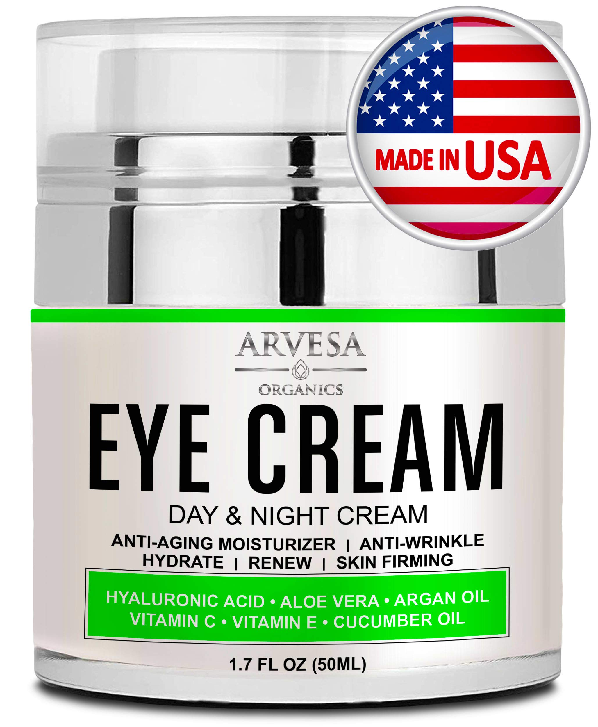 Best Eye Cream For Dark Circles and Puffiness - with Hyaluronic Acid - Vitamin C + E - Anti Aging Complex to Reduce Eye Bags - Wrinkles - Fine Lines - Made in USA - for Men & Women - 1.7 OZ by Arvesa