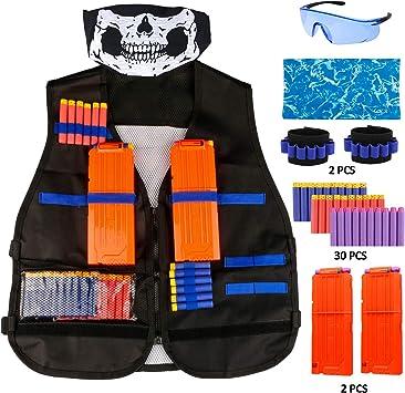 Oferta amazon: Gafild Kit de Chaleco Táctico para Niños, Chaqueta Táctica para Pistola Nerf Serie Juego de Batalla, con 30 de Espuma Dardos, 2 Quick Reload Clips, 2 muñequera, 2 Máscara, Gafas Protectoras