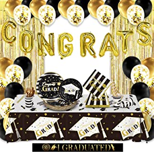 Gatherfun Graduation Party Decorations 2021 Paper Plates Napkins Cups Straws tableware Tablecloth Balloons for College High School Congrats Grad Party Supplies Sever 25
