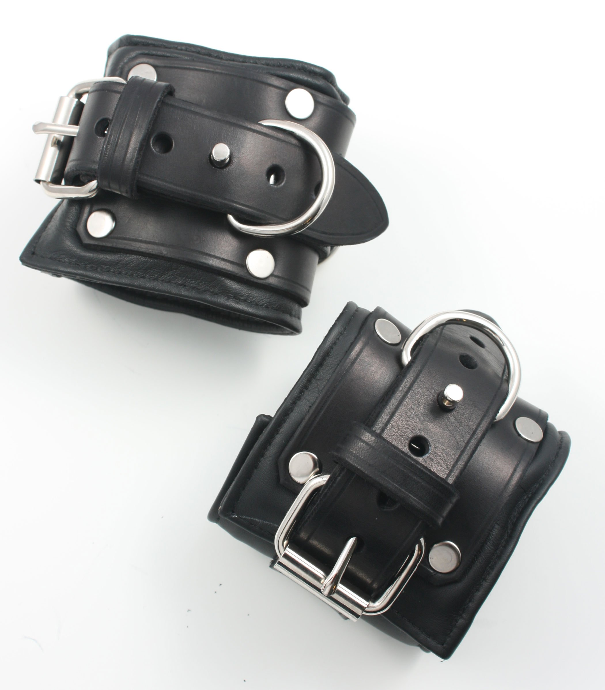 Padded Locking Leather Wrist Restraints - Men's - Black by Mr-S-Leather