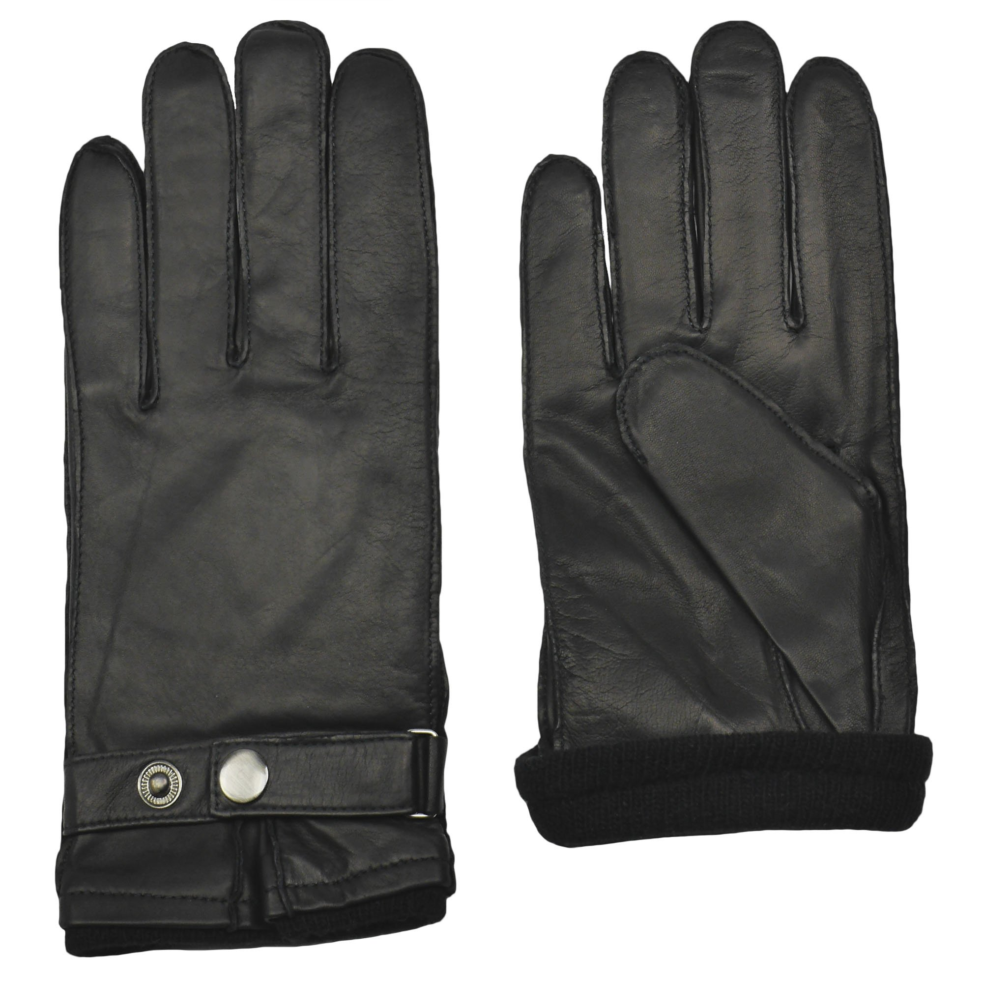 Men's BENTLEY Sheepskin Leather Driving Glove | Cashmere Lined by GRANDOE (Black, Large)