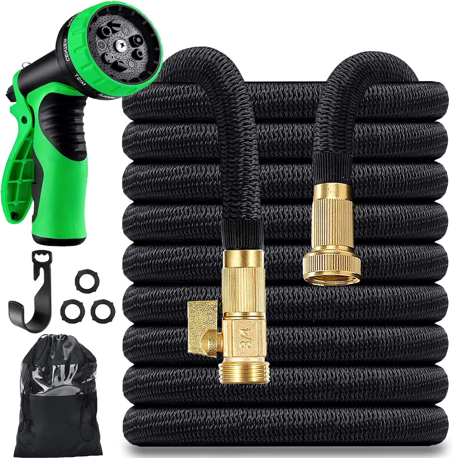 150 ft Garden Hose - Expandable Water Hose wiht Durable 4-Layer Latex Core and Fabric, 3/4