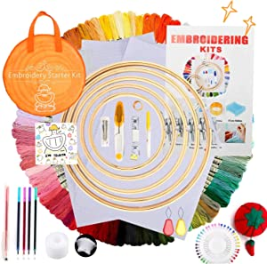 TELEIYA Embroidery Kit with Instructions, 100 Colored Threads 5 Pcs Bamboo Embroidery Hoops 3 Pcs Aida Cloth Multiple Needle-Threading Tools etc, 1 Bag for Beginners