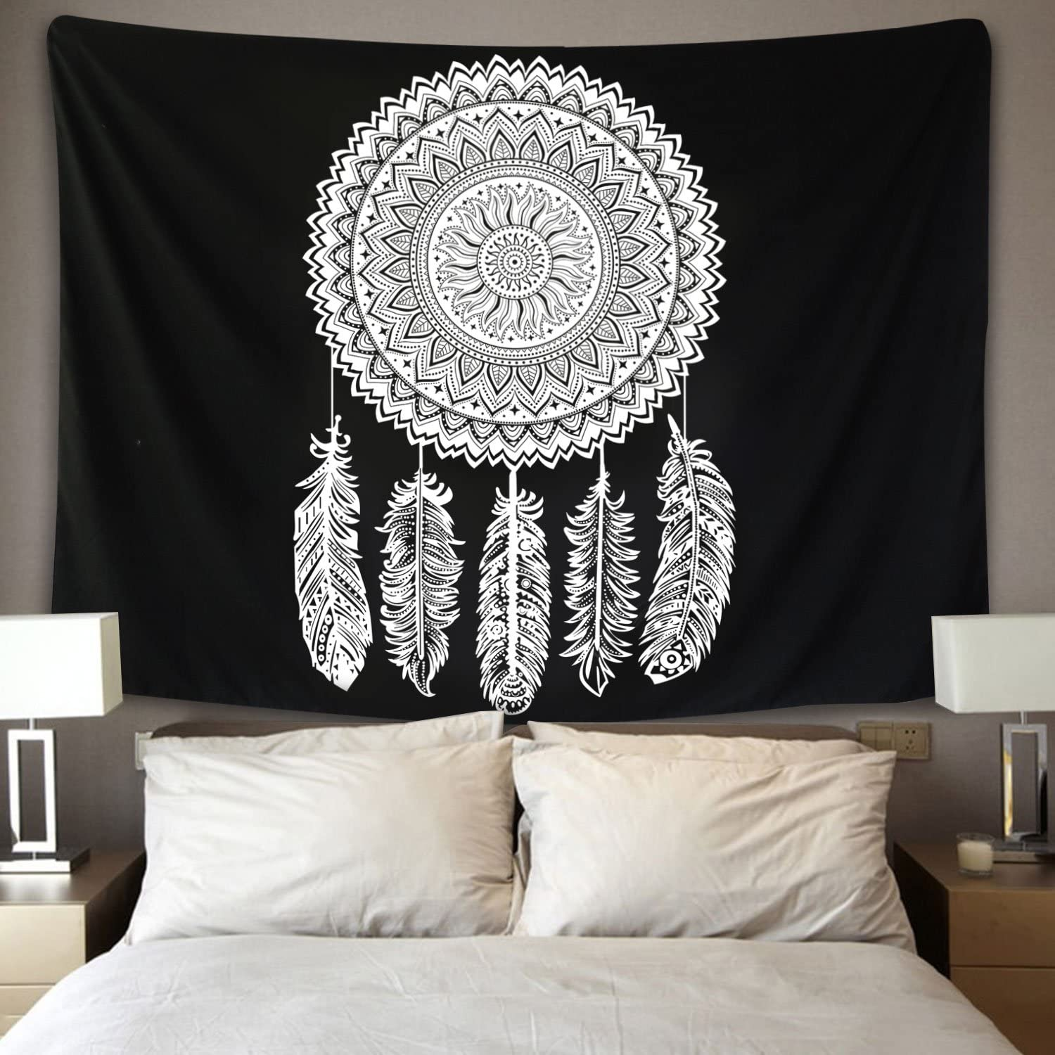 Dreamcatcher Tapestry Black White Mandala Tapestry Wall Hanging Flower Wall Tapestry Indian Bohemian Hippie Tapestry Wall Art for Living Room Bedroom Dorm Decor