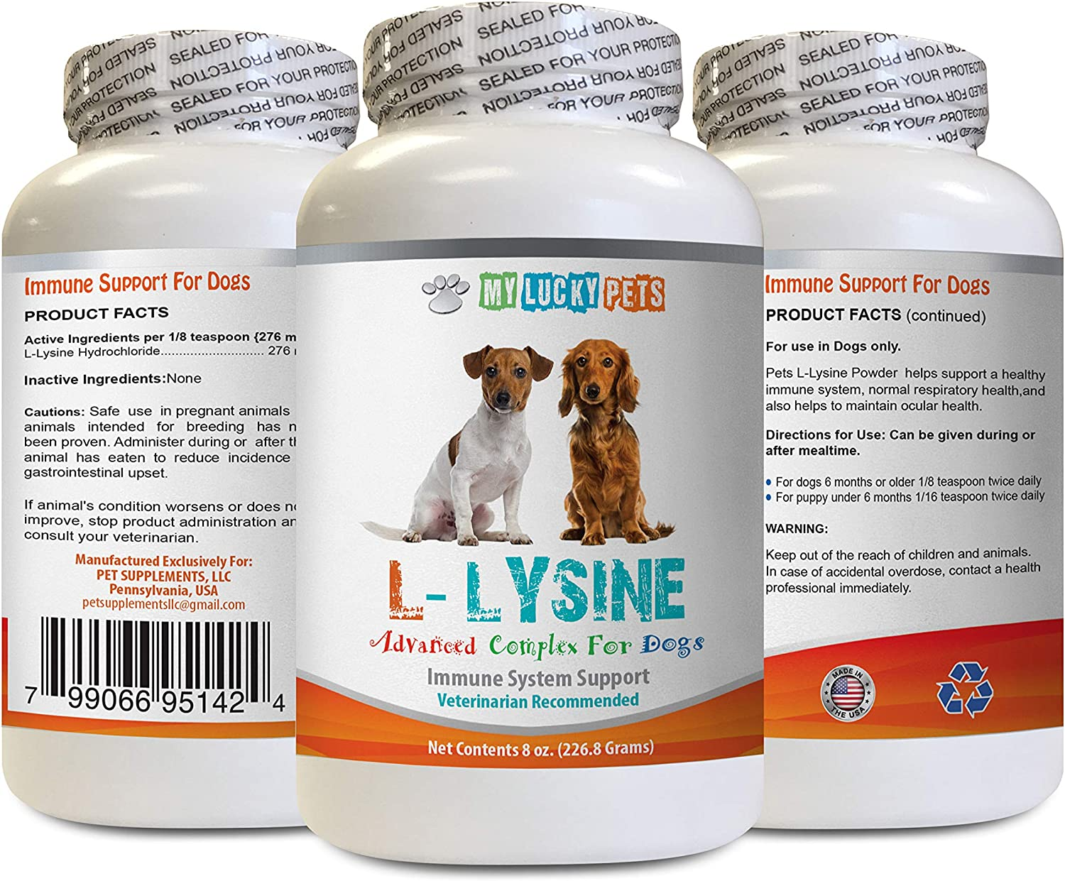 MY LUCKY PETS LLC Dog Immune Boost - Dog LYSINE Powder - Pure Powder Form - Immune System Support - Vet Recommended - lysine Supplement for Dogs - 1 Bottle (8oz 226.8 Grams)