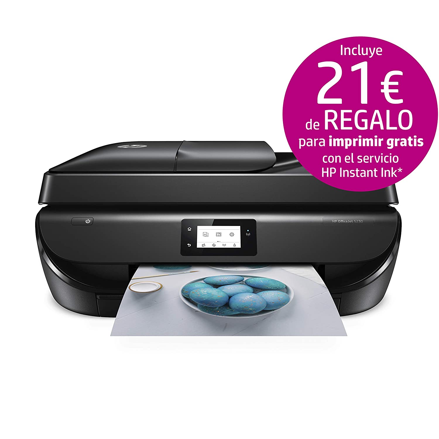 HP Officejet 5230 – Impresora multifunción inalámbrica (tinta, Wi-Fi, copiar, escanear, impresión a doble cara, 1200 x 1200 ppp, 10 ppm), color negro