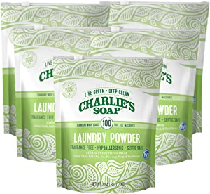 Charlie's Soap - Fragrance Free Laundry Powder - 100 Loads (Five 100-load Bags, 500 Total Loads)