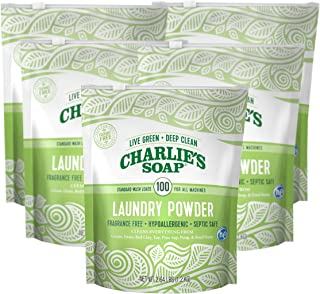 product image for Charlie's Soap - Fragrance Free Laundry Powder - 100 Loads (Five 100-load Bags, 500 Total Loads)