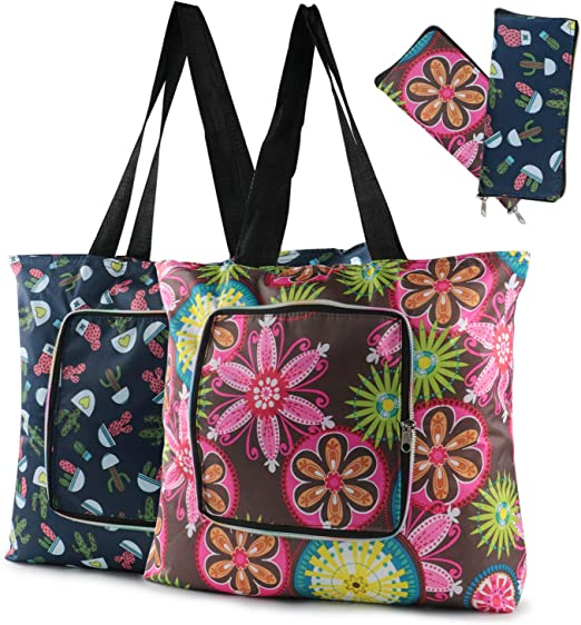 LOT OF 25  ECO REUSABLE POLYESTER TOTE BAGS OR GROCERY BAGS WITH ZIPPER