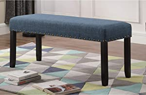 Roundhill Furniture Biony Fabric Dining Bench with Nailhead Trim, Blue