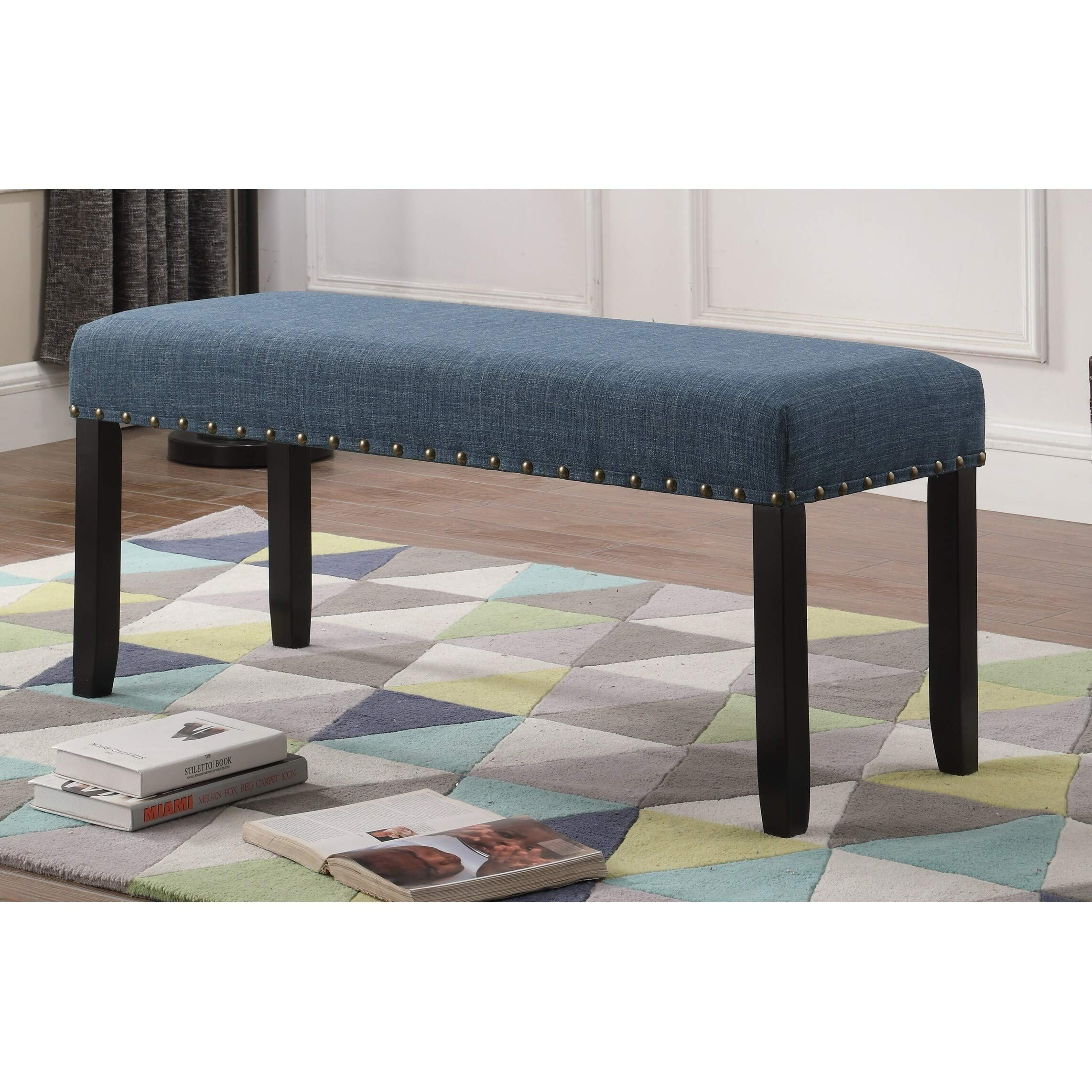 Roundhill Furniture Biony Fabric Dining Bench with Nailhead Trim, Blue by Roundhill Furniture