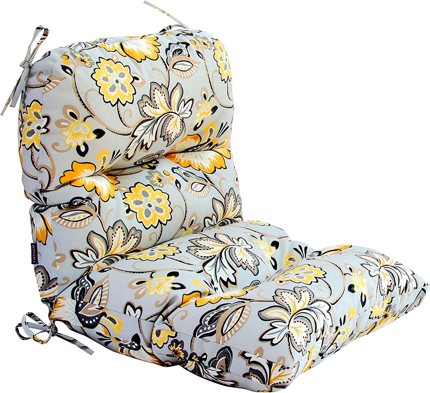 BOSSIMA Outdoor Indoor High Back Chair Tufted Cushions Comfort Replacement Patio Seating Cushions (Flower Prints Grey)