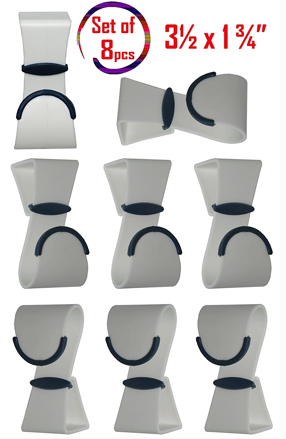 Set of 8 White Over-the-Door Hooks / Hanger Organizer Hooks / Clothes, Coat, Bath Towel Hooks / Plastic