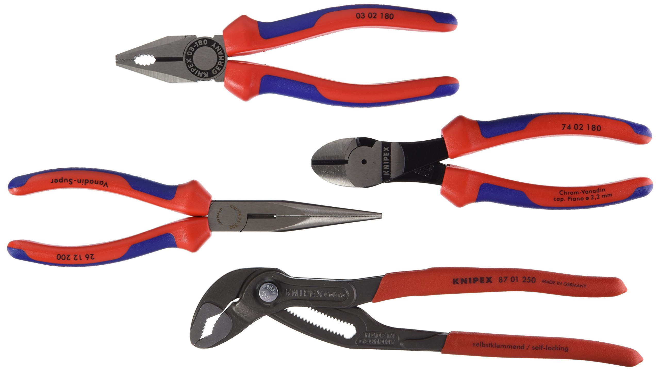 00 20 01 V15 Pliers Set ''Basic'' 4Piece in Red/Blue