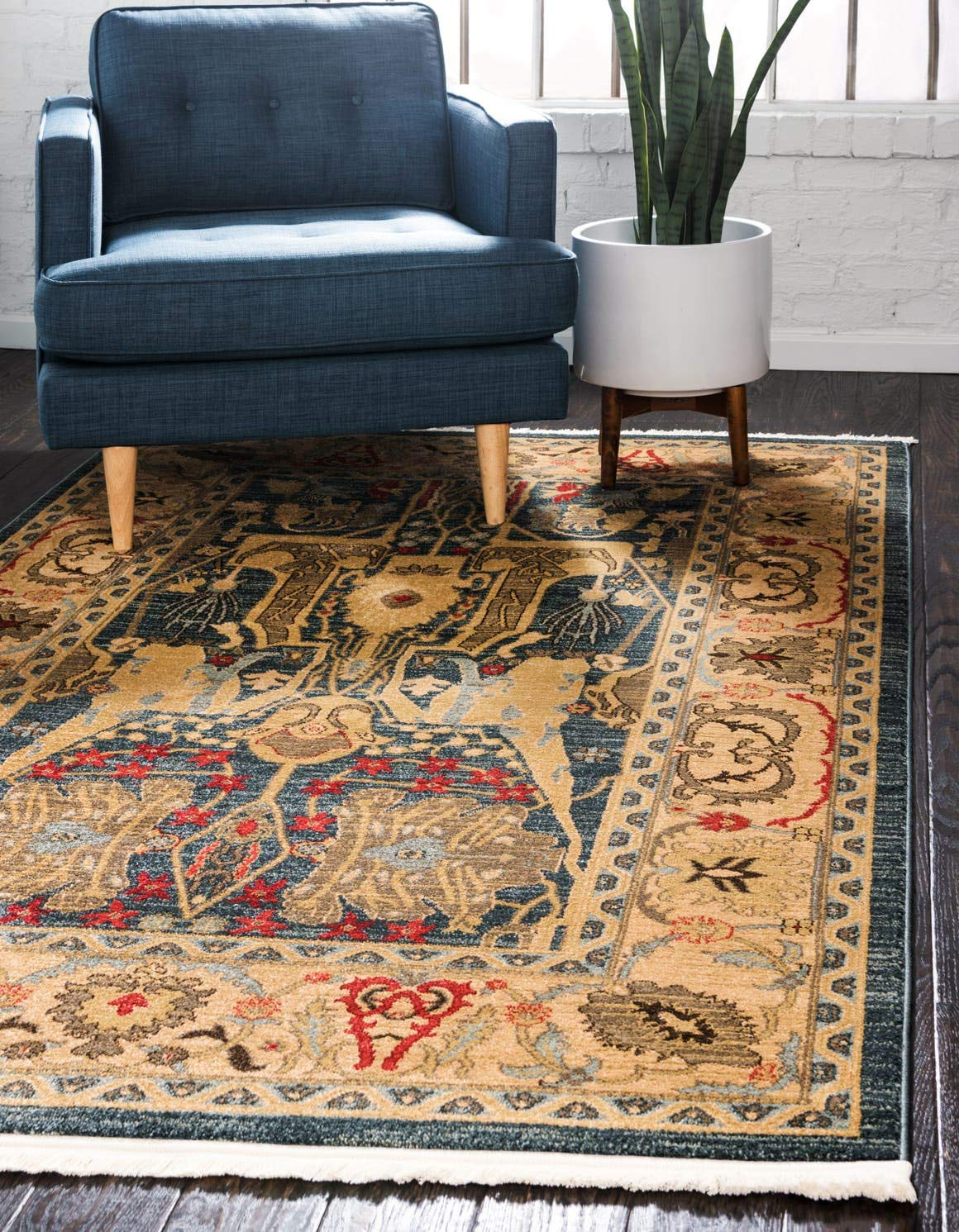 Unique Loom Sahand Collection Traditional Geometric Classic Navy Blue Area Rug 3 3 x 5 3