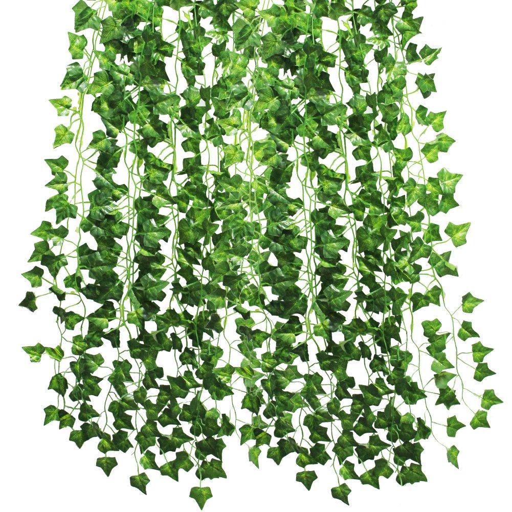 kbnian 12パック84 ft人工アイビーガーランドFoliage Green Leavesつる植物ガーランドFake Foliage花ウェディングパーティー庭壁Decoration。 B0788W5P4W