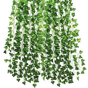 12Pcs 2m Lierre Vigne Plante Artificielle, Kbnian Lierre ...