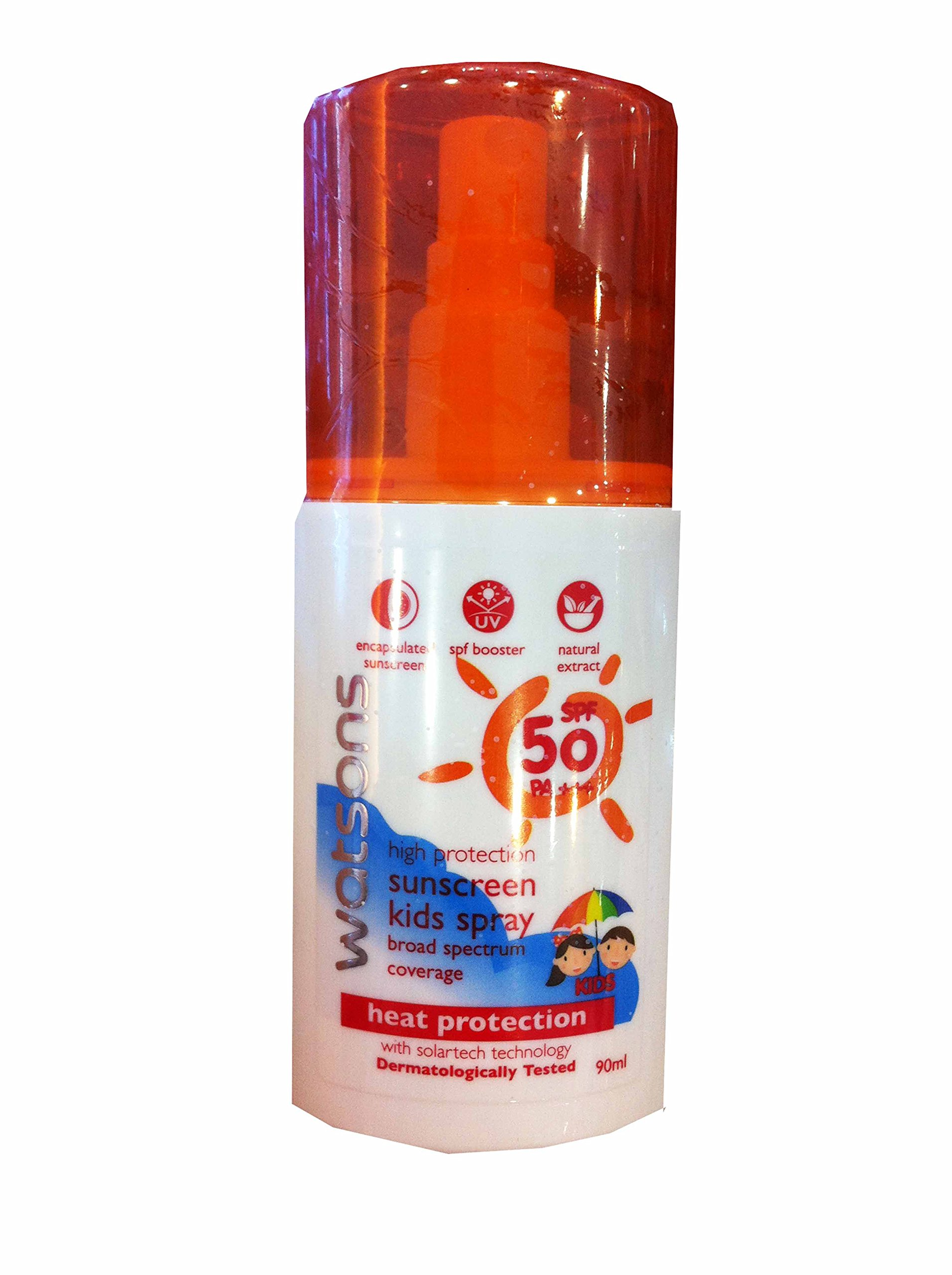 2 Packs of High Protection Sunscreen Kids Spray Broad Spectrum Coverage By Watsons. Spf 50 Pa+++, Dermatologically Tested. (90 Ml/ Pack)