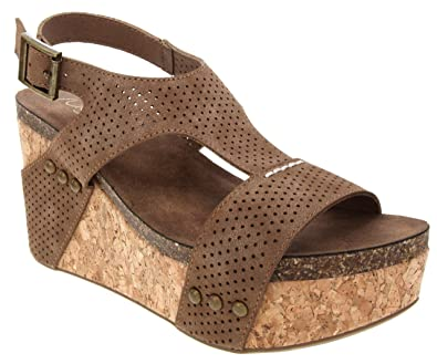 fe8ac09317 Amazon.com | Sugar Women's Junebug 2 Platform Cork Wedge Sandal | Sandals