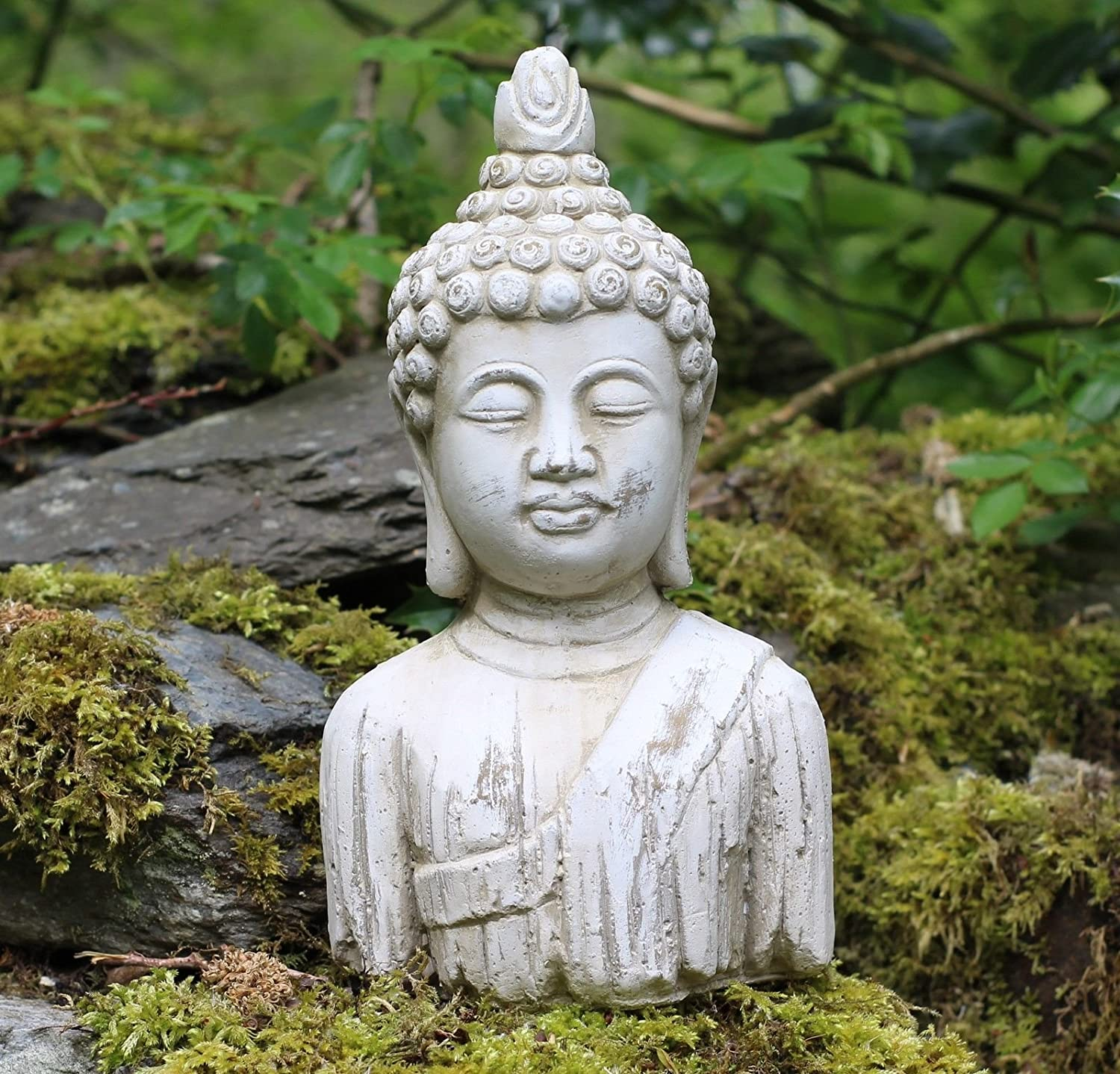 Buddha bust Stone Drift Wood Effect Garden Outdoor Indoor Statue Ornament Home and Garden Products Ltd