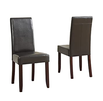 Amazoncom Simpli Home Acadian Pu Leather Parson Dining Chairs