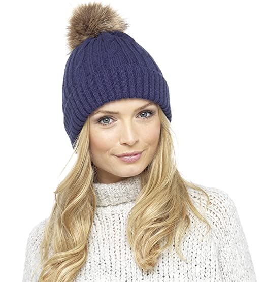 6d27fb63027 Ladies Chunky Knit Hat with Faux Fur Bobble – 3 Colours to Choose (Blue)