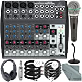 Behringer XENYX 1202 12 Channel Audio Mixer and Deluxe Bundle w/ Samson Dynamic Mic + Closed-Back Headphones + Desktop Mic Stand + More