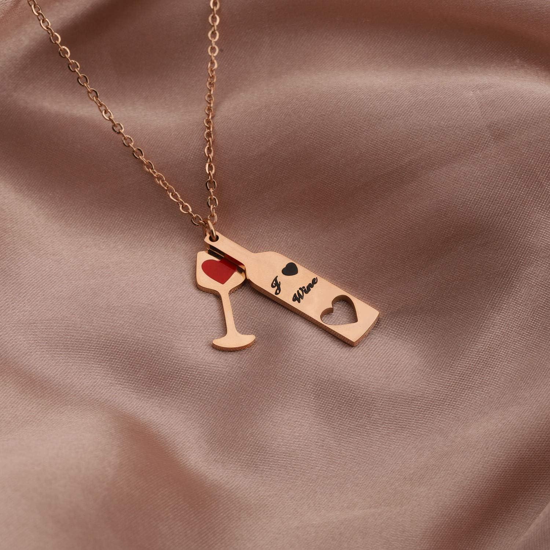 bel regalo per gli amanti del vino Gioiello a tema vino per donne in acciaio inox collana con bicchiere di vino e un cuore disegnato sopra Zuo Bao